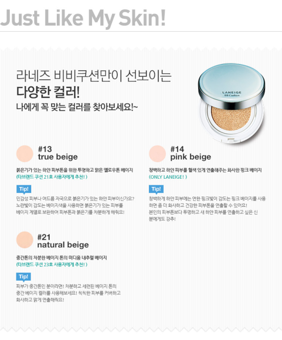 Laneige Pore Control BB Cushion colours