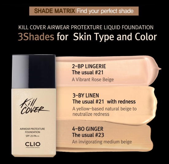 CLIO Kill Cover Airwear Protexture Liquid foundation shades